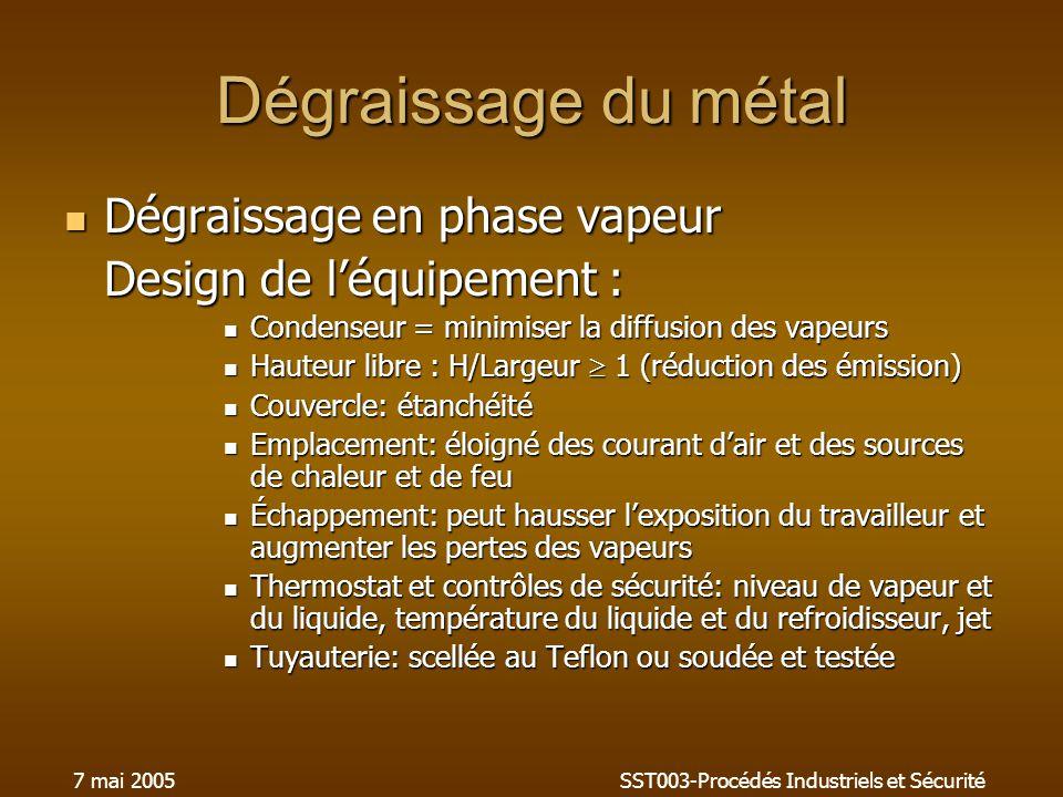7 mai 2005SST003-Procédés Industriels et Sécurité Dégraissage du métal Dégraissage en phase vapeur Dégraissage en phase vapeur Design de léquipement : Condenseur = minimiser la diffusion des vapeurs Condenseur = minimiser la diffusion des vapeurs Hauteur libre : H/Largeur 1 (réduction des émission) Hauteur libre : H/Largeur 1 (réduction des émission) Couvercle: étanchéité Couvercle: étanchéité Emplacement: éloigné des courant dair et des sources de chaleur et de feu Emplacement: éloigné des courant dair et des sources de chaleur et de feu Échappement: peut hausser lexposition du travailleur et augmenter les pertes des vapeurs Échappement: peut hausser lexposition du travailleur et augmenter les pertes des vapeurs Thermostat et contrôles de sécurité: niveau de vapeur et du liquide, température du liquide et du refroidisseur, jet Thermostat et contrôles de sécurité: niveau de vapeur et du liquide, température du liquide et du refroidisseur, jet Tuyauterie: scellée au Teflon ou soudée et testée Tuyauterie: scellée au Teflon ou soudée et testée