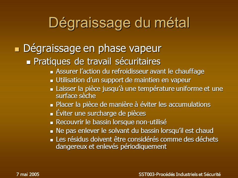 7 mai 2005SST003-Procédés Industriels et Sécurité Dégraissage du métal Dégraissage en phase vapeur Dégraissage en phase vapeur Pratiques de travail sé