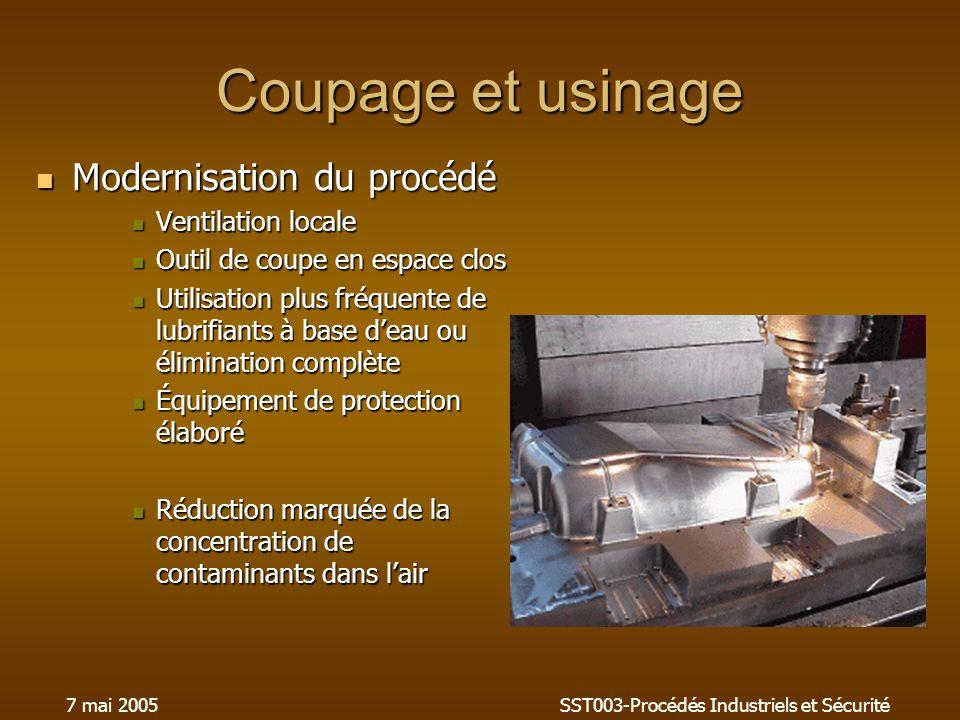 7 mai 2005SST003-Procédés Industriels et Sécurité Coupage et usinage Modernisation du procédé Modernisation du procédé Ventilation locale Ventilation