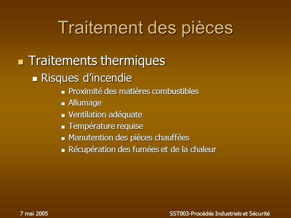 7 mai 2005SST003-Procédés Industriels et Sécurité Traitement des pièces Traitements thermiques Traitements thermiques Risques dincendie Risques dincen