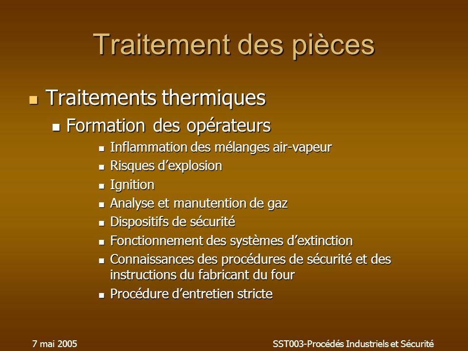 7 mai 2005SST003-Procédés Industriels et Sécurité Traitement des pièces Traitements thermiques Traitements thermiques Formation des opérateurs Formati