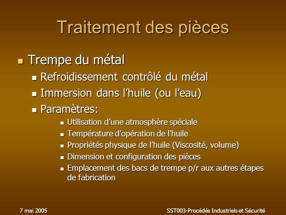 7 mai 2005SST003-Procédés Industriels et Sécurité Traitement des pièces Trempe du métal Trempe du métal Refroidissement contrôlé du métal Refroidissement contrôlé du métal Immersion dans lhuile (ou leau) Immersion dans lhuile (ou leau) Paramètres: Paramètres: Utilisation dune atmosphère spéciale Utilisation dune atmosphère spéciale Température dopération de lhuile Température dopération de lhuile Propriétés physique de lhuile (Viscosité, volume) Propriétés physique de lhuile (Viscosité, volume) Dimension et configuration des pièces Dimension et configuration des pièces Emplacement des bacs de trempe p/r aux autres étapes de fabrication Emplacement des bacs de trempe p/r aux autres étapes de fabrication