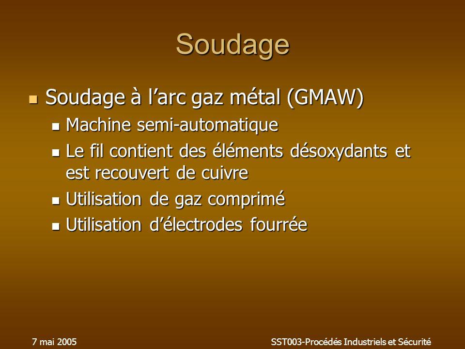 7 mai 2005SST003-Procédés Industriels et Sécurité Soudage Soudage à larc gaz métal (GMAW) Soudage à larc gaz métal (GMAW) Machine semi-automatique Mac