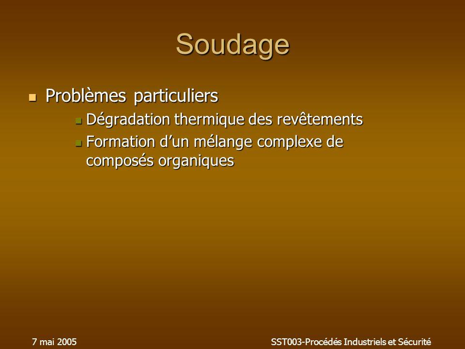 7 mai 2005SST003-Procédés Industriels et Sécurité Soudage Problèmes particuliers Problèmes particuliers Dégradation thermique des revêtements Dégradat