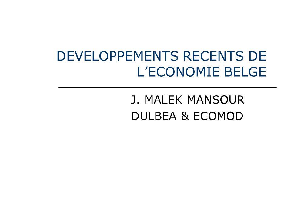 DEVELOPPEMENTS RECENTS DE LECONOMIE BELGE J. MALEK MANSOUR DULBEA & ECOMOD