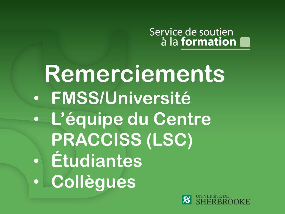 Remerciements FMSS/Université Léquipe du Centre PRACCISS (LSC) Étudiantes Collègues