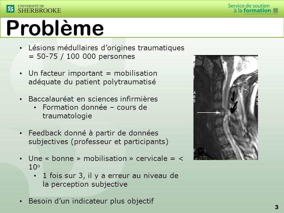 3 Problème Lésions médullaires dorigines traumatiques = 50-75 / 100 000 personnes Un facteur important = mobilisation adéquate du patient polytraumati