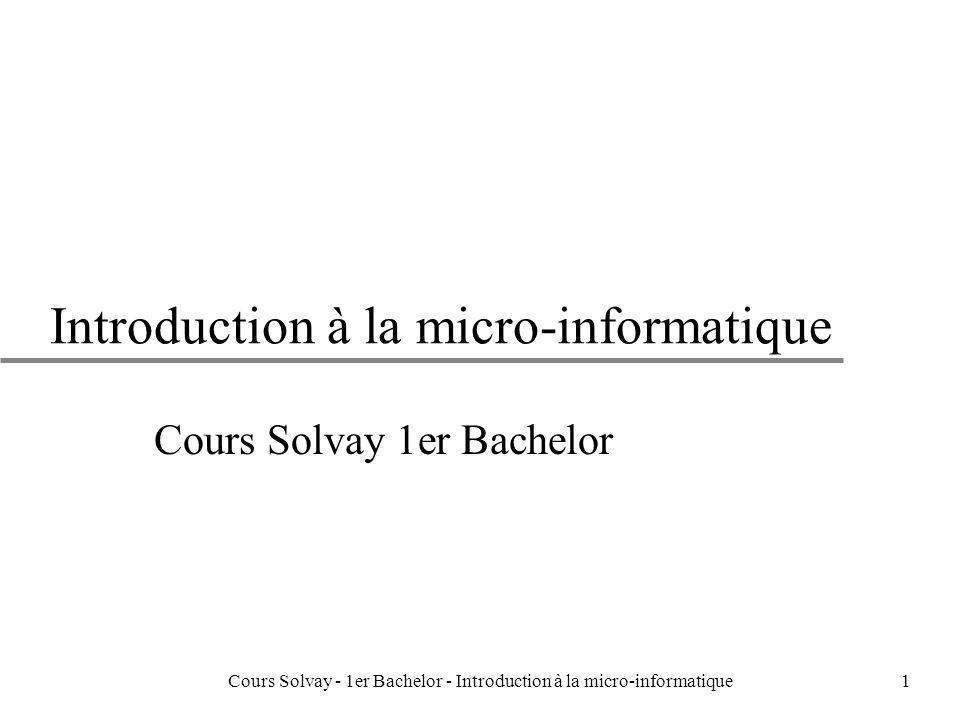 Cours Solvay - 1er Bachelor - Introduction à la micro-informatique82 Les niveaux hiérarchiques: mémoire cache et mémoire virtuelle u Deux niveaux de mémoire, une rapide transférant à haute fréquence peu de données, lautre plus lente transférant moins fréquemment beaucoup de données.