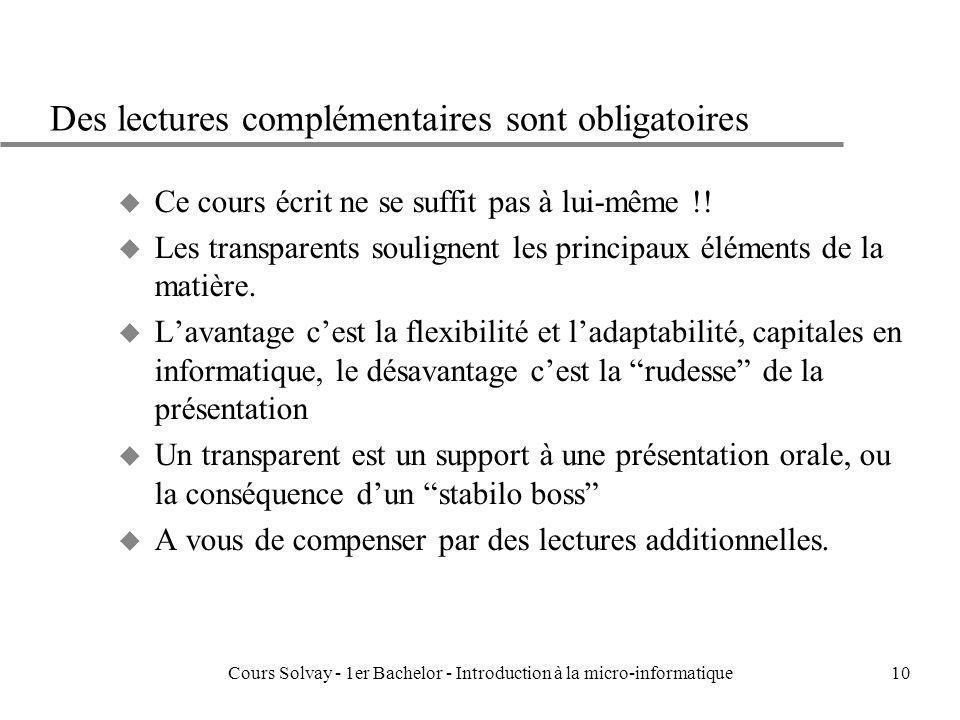 Cours Solvay - 1er Bachelor - Introduction à la micro-informatique10 Des lectures complémentaires sont obligatoires u Ce cours écrit ne se suffit pas