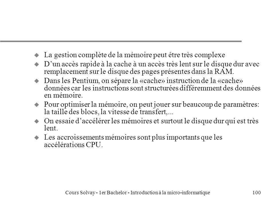 Cours Solvay - 1er Bachelor - Introduction à la micro-informatique100 u La gestion complète de la mémoire peut être très complexe u Dun accès rapide à