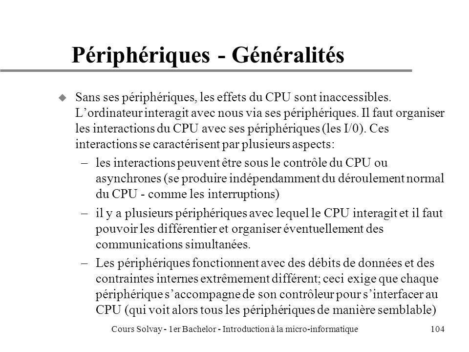 Cours Solvay - 1er Bachelor - Introduction à la micro-informatique104 Périphériques - Généralités u Sans ses périphériques, les effets du CPU sont ina