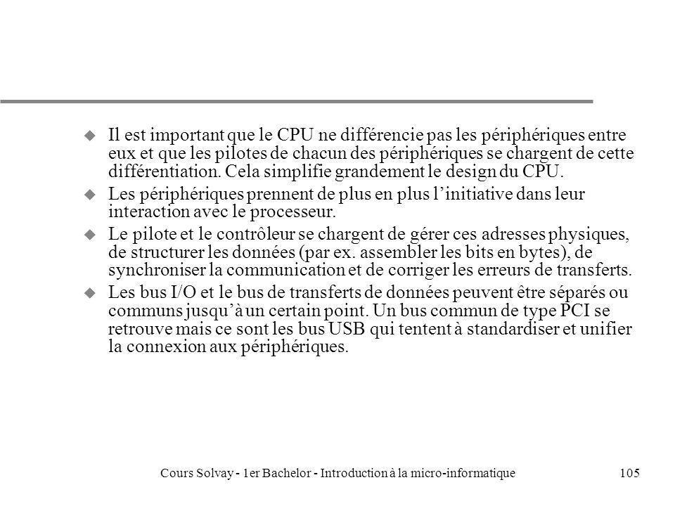 Cours Solvay - 1er Bachelor - Introduction à la micro-informatique105 u Il est important que le CPU ne différencie pas les périphériques entre eux et