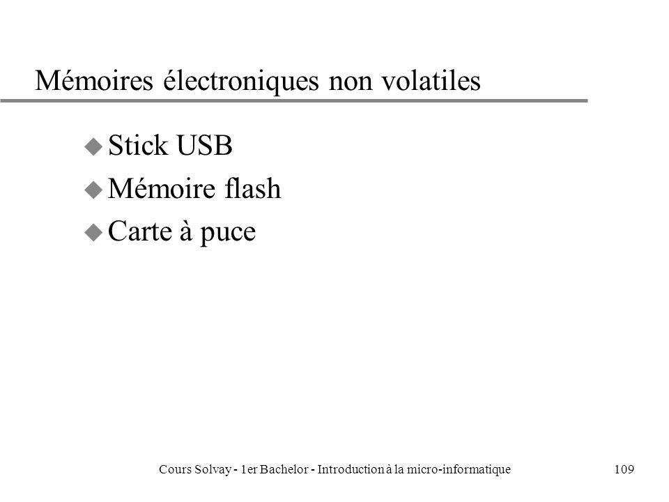 Cours Solvay - 1er Bachelor - Introduction à la micro-informatique109 Mémoires électroniques non volatiles u Stick USB u Mémoire flash u Carte à puce
