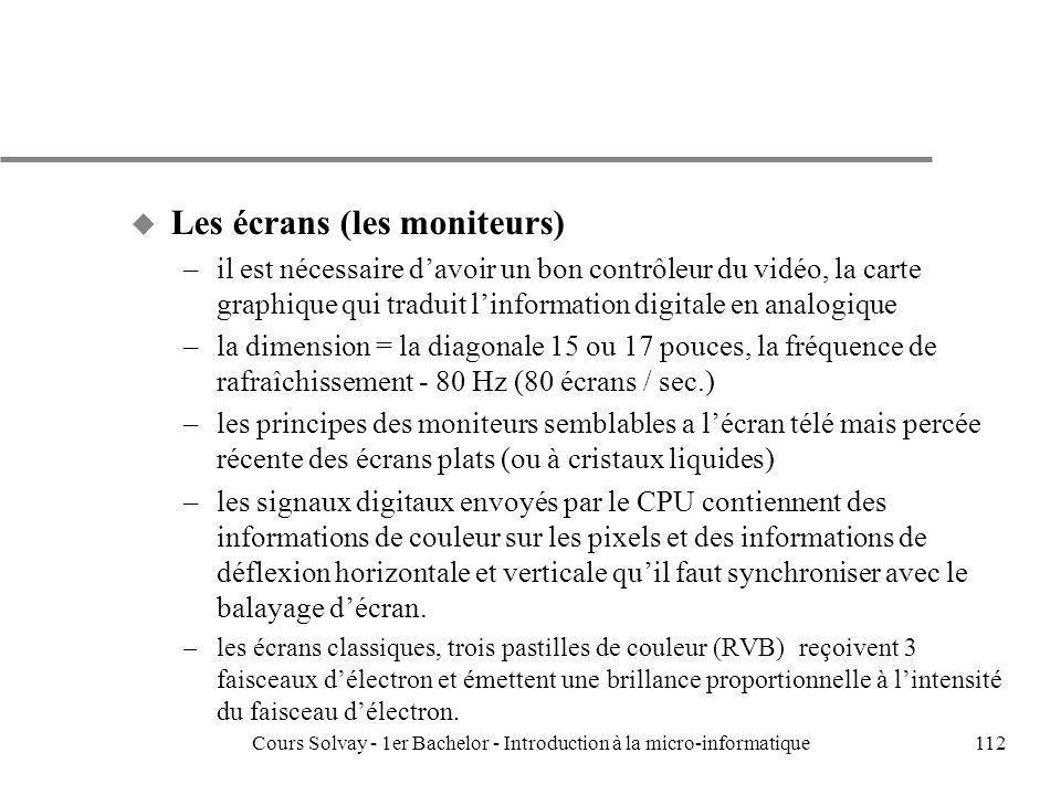 Cours Solvay - 1er Bachelor - Introduction à la micro-informatique112 u Les écrans (les moniteurs) –il est nécessaire davoir un bon contrôleur du vidé