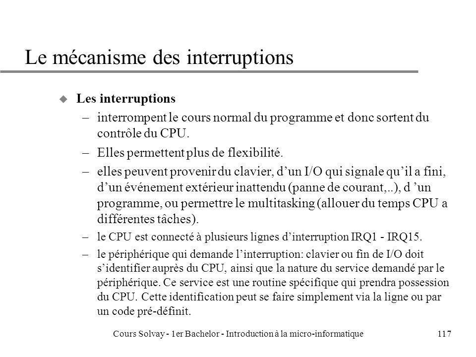 Cours Solvay - 1er Bachelor - Introduction à la micro-informatique117 Le mécanisme des interruptions u Les interruptions –interrompent le cours normal