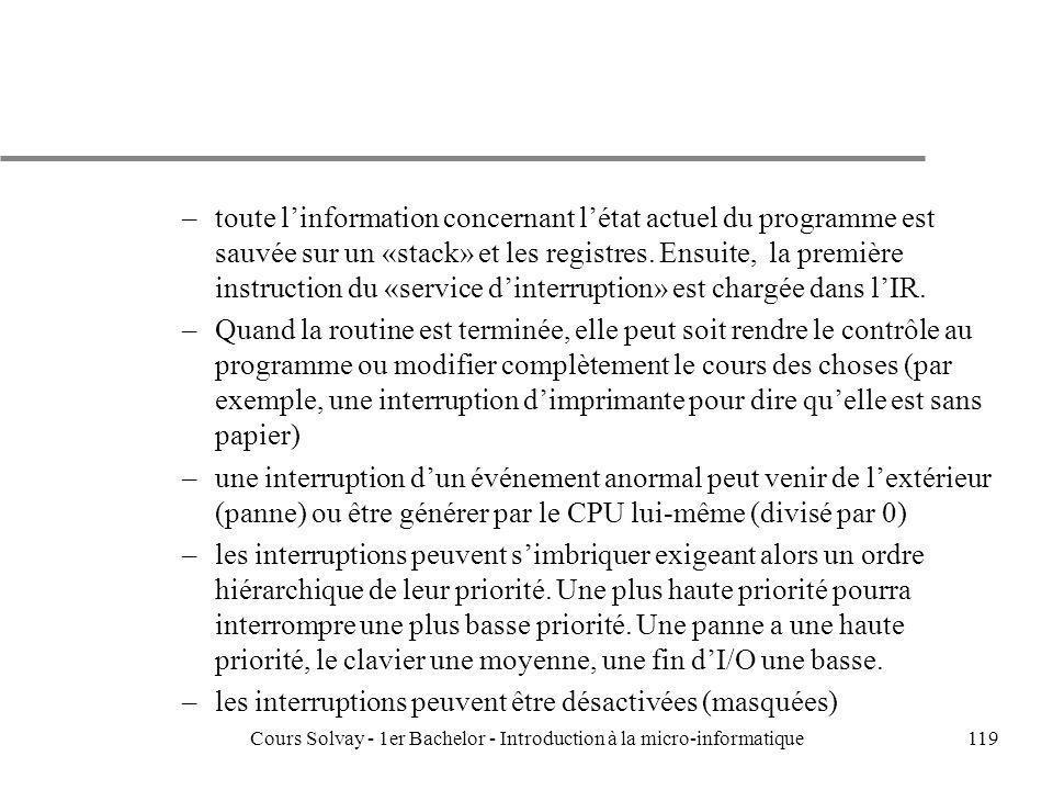 Cours Solvay - 1er Bachelor - Introduction à la micro-informatique119 –toute linformation concernant létat actuel du programme est sauvée sur un «stac
