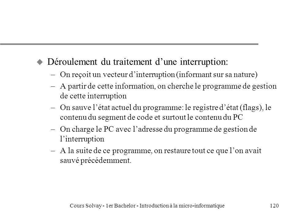 Cours Solvay - 1er Bachelor - Introduction à la micro-informatique120 u Déroulement du traitement dune interruption: –On reçoit un vecteur dinterrupti