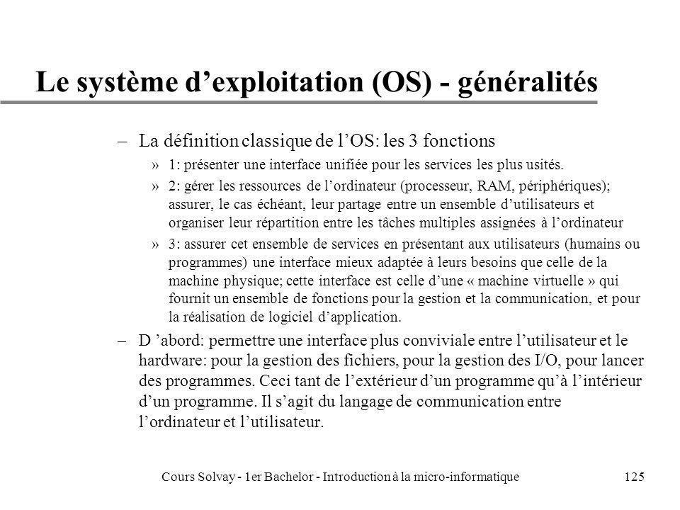 Cours Solvay - 1er Bachelor - Introduction à la micro-informatique125 Le système dexploitation (OS) - généralités –La définition classique de lOS: les