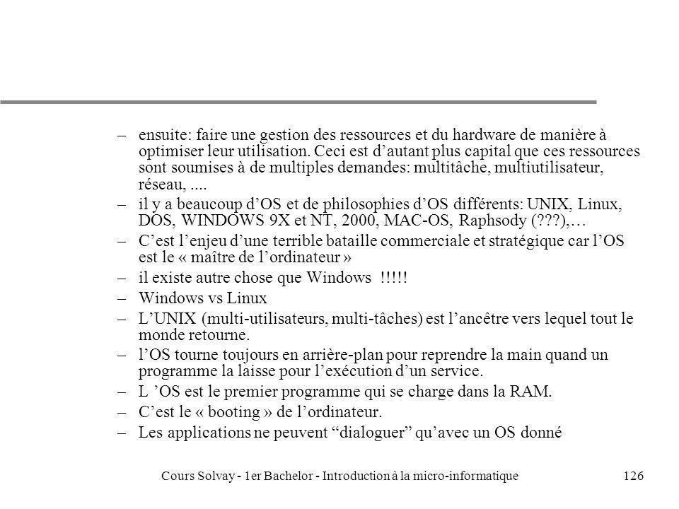 Cours Solvay - 1er Bachelor - Introduction à la micro-informatique126 –ensuite: faire une gestion des ressources et du hardware de manière à optimiser