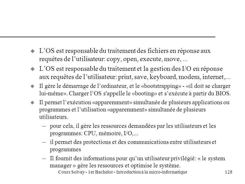 Cours Solvay - 1er Bachelor - Introduction à la micro-informatique128 u LOS est responsable du traitement des fichiers en réponse aux requêtes de luti
