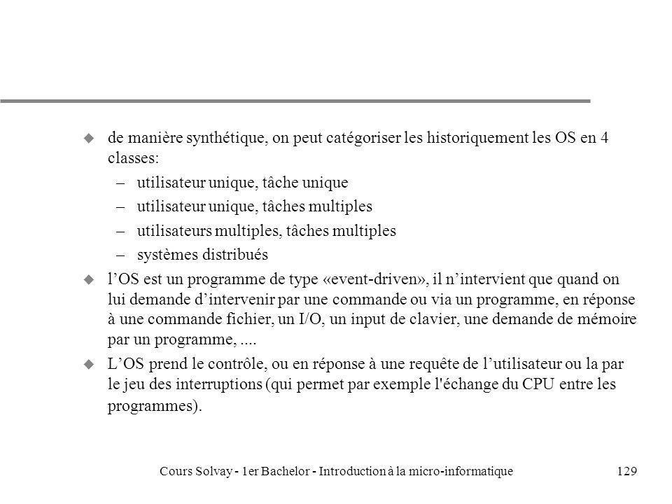 Cours Solvay - 1er Bachelor - Introduction à la micro-informatique129 u de manière synthétique, on peut catégoriser les historiquement les OS en 4 cla
