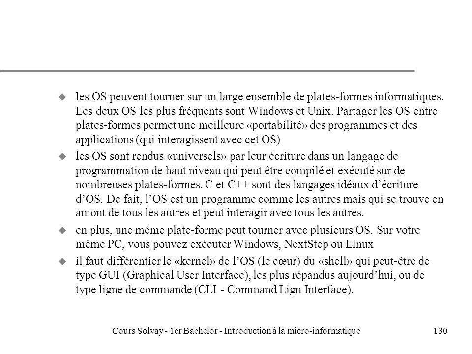 Cours Solvay - 1er Bachelor - Introduction à la micro-informatique130 u les OS peuvent tourner sur un large ensemble de plates-formes informatiques. L