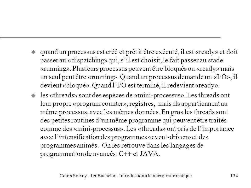 Cours Solvay - 1er Bachelor - Introduction à la micro-informatique134 u quand un processus est créé et prêt à être exécuté, il est «ready» et doit pas
