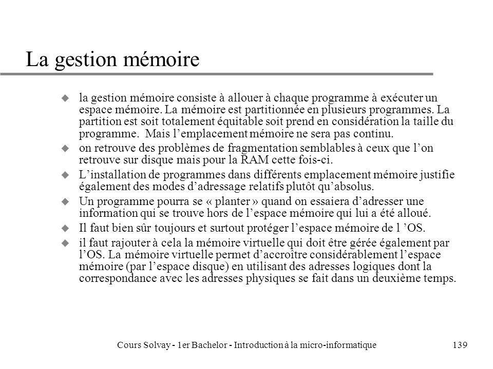 Cours Solvay - 1er Bachelor - Introduction à la micro-informatique139 La gestion mémoire u la gestion mémoire consiste à allouer à chaque programme à