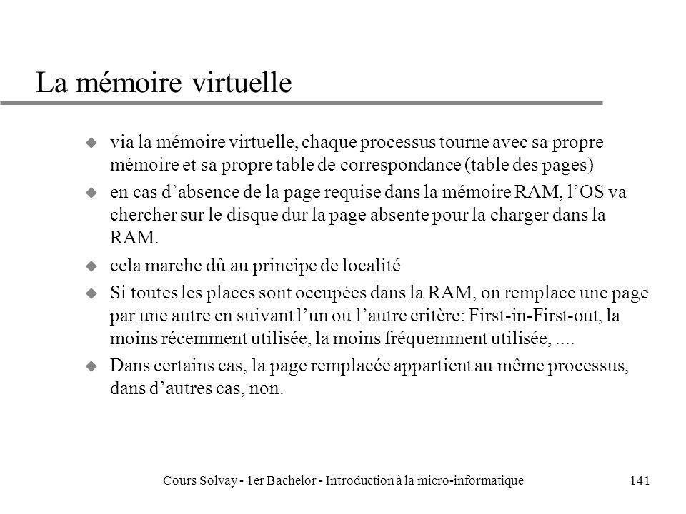 Cours Solvay - 1er Bachelor - Introduction à la micro-informatique141 La mémoire virtuelle u via la mémoire virtuelle, chaque processus tourne avec sa