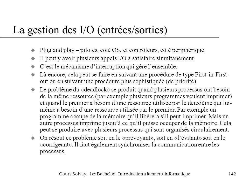 Cours Solvay - 1er Bachelor - Introduction à la micro-informatique142 La gestion des I/O (entrées/sorties) u Plug and play – pilotes, côté OS, et cont