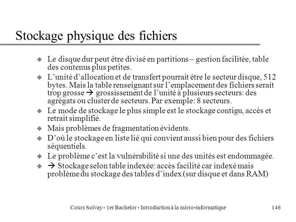 Cours Solvay - 1er Bachelor - Introduction à la micro-informatique146 Stockage physique des fichiers u Le disque dur peut être divisé en partitions –
