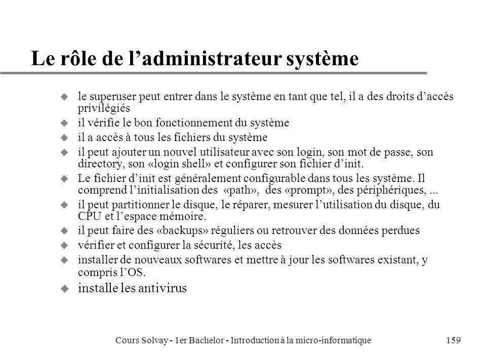 Cours Solvay - 1er Bachelor - Introduction à la micro-informatique159 Le rôle de ladministrateur système u le superuser peut entrer dans le système en