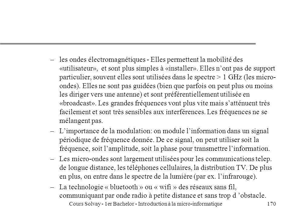 Cours Solvay - 1er Bachelor - Introduction à la micro-informatique170 –les ondes électromagnétiques - Elles permettent la mobilité des «utilisateur»,