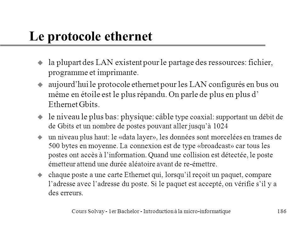 Cours Solvay - 1er Bachelor - Introduction à la micro-informatique186 Le protocole ethernet u la plupart des LAN existent pour le partage des ressourc