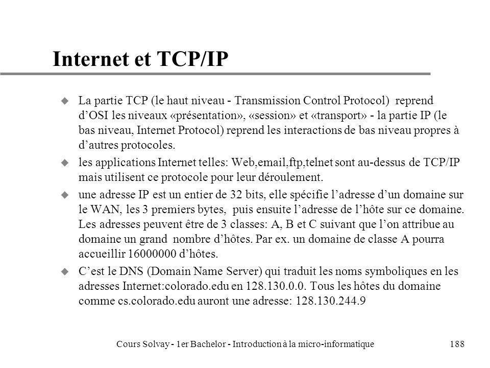 Cours Solvay - 1er Bachelor - Introduction à la micro-informatique188 Internet et TCP/IP u La partie TCP (le haut niveau - Transmission Control Protoc
