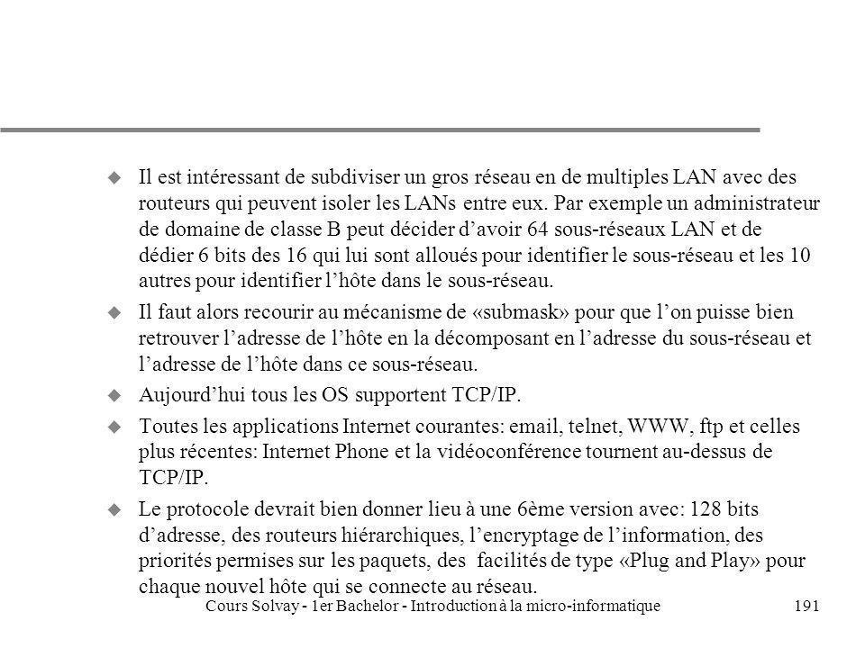 Cours Solvay - 1er Bachelor - Introduction à la micro-informatique191 u Il est intéressant de subdiviser un gros réseau en de multiples LAN avec des r