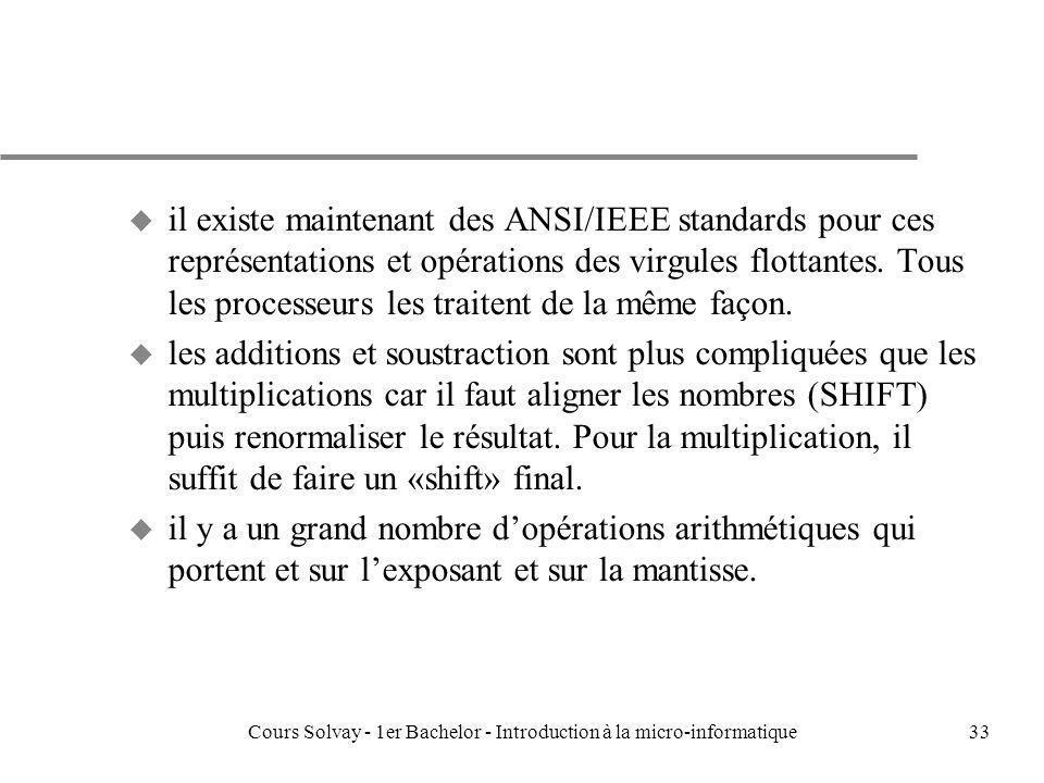 Cours Solvay - 1er Bachelor - Introduction à la micro-informatique33 u il existe maintenant des ANSI/IEEE standards pour ces représentations et opérat