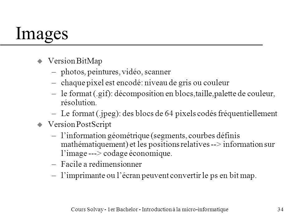 Cours Solvay - 1er Bachelor - Introduction à la micro-informatique34 Images u Version BitMap –photos, peintures, vidéo, scanner –chaque pixel est enco