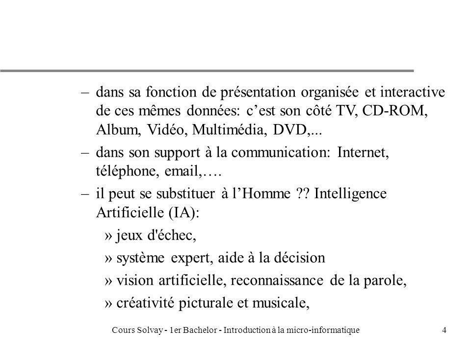 Cours Solvay - 1er Bachelor - Introduction à la micro-informatique25 Information Binarisée: Ecriture, Nombres, Images, Sons u La valeur dun mot binaire dépend du contexte dutilisation: mot, images, sons,...