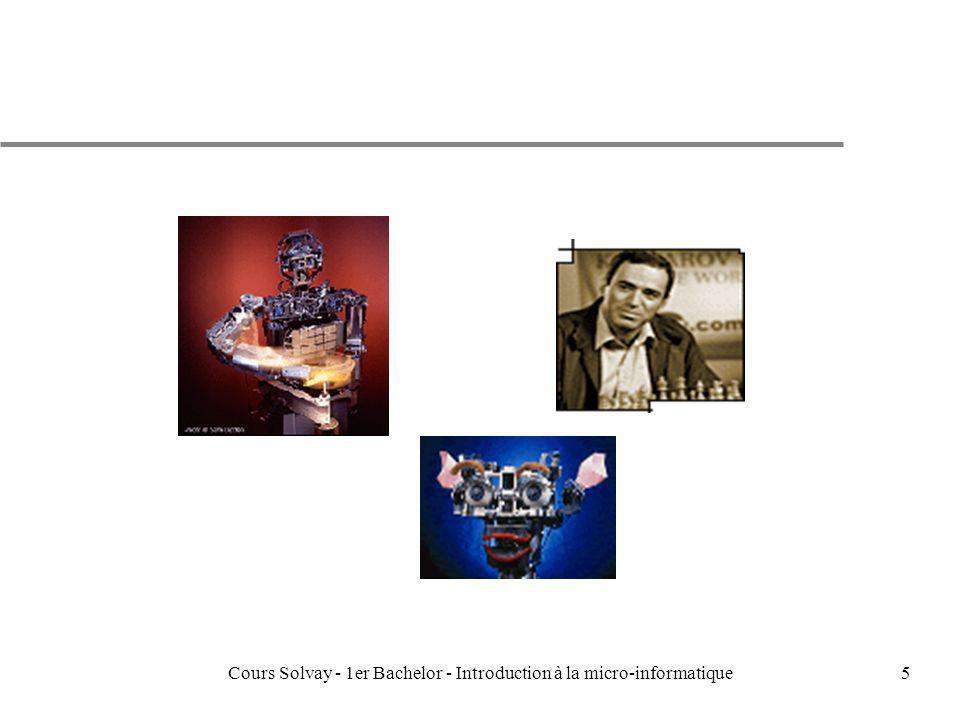 Cours Solvay - 1er Bachelor - Introduction à la micro-informatique106 LESPERIPHERIQUESLESPERIPHERIQUES CPU I/O registre données I/O registre adresses pilote I/O pilote I/O Clavier0.03 Souris0.02 Voix0.02 Scanner200 Imprimante0.5 matricielle CD153 Disque Dur150000 Périph.Transfert KB/sec