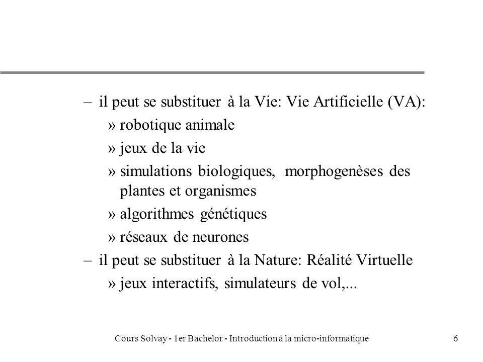 Cours Solvay - 1er Bachelor - Introduction à la micro-informatique27 Nombres entiers : u Traduction Binaire –1 entier 16 bits »-32767 < < 32767 –mais ils peuvent être codés sur 32 même 64 bits –notation dite en 2complement: » -4 -3 -2 -1 0 1 2 3 » 100 101 110 111 000 001 010 011 –le nombre est compris entre -2 n-1 et 2 n-1 - 1 –le premier bit informe sur le signe et est appelé: «le bit le plus significatif» –la notation en 2s complement permet de traiter laddition de nombre négatif et positif de la même manière –la base 16 est également fort utilisée: 4 bits = 1 lettre hexadecimale: »347B8 = 00110100011110111000