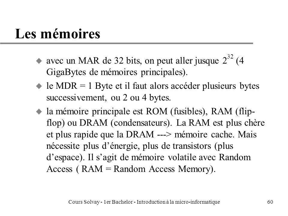 Cours Solvay - 1er Bachelor - Introduction à la micro-informatique60 Les mémoires u avec un MAR de 32 bits, on peut aller jusque 2 32 (4 GigaBytes de