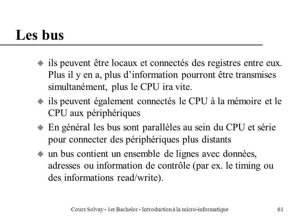Cours Solvay - 1er Bachelor - Introduction à la micro-informatique61 Les bus u ils peuvent être locaux et connectés des registres entre eux. Plus il y