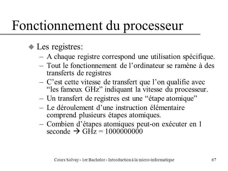 Cours Solvay - 1er Bachelor - Introduction à la micro-informatique67 Fonctionnement du processeur u Les registres: –A chaque registre correspond une u