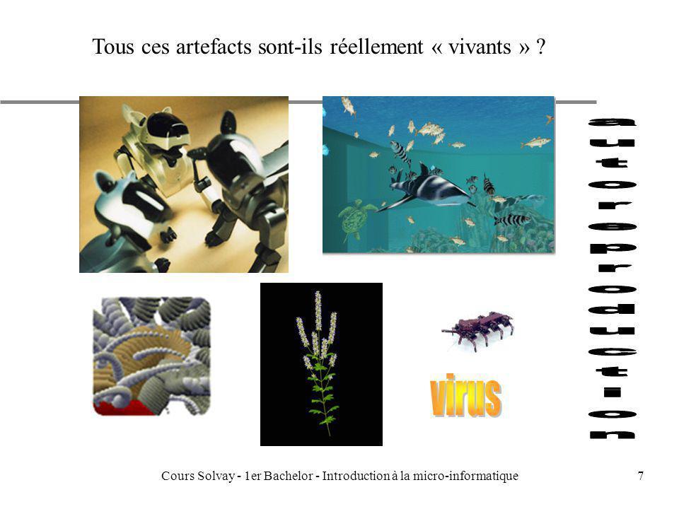 Cours Solvay - 1er Bachelor - Introduction à la micro-informatique58 Eléments fondamentaux de larchitecture u les registres –MAR,MDR,PC,IR, u les mémoires –RAM,DRAM,cache,virtuelle....