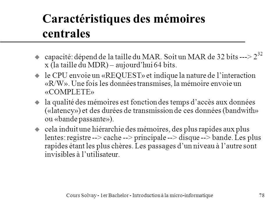 Cours Solvay - 1er Bachelor - Introduction à la micro-informatique78 Caractéristiques des mémoires centrales u capacité: dépend de la taille du MAR. S