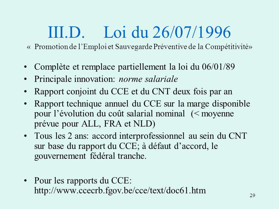 29 III.D.Loi du 26/07/1996 « Promotion de lEmploi et Sauvegarde Préventive de la Compétitivité» Complète et remplace partiellement la loi du 06/01/89 Principale innovation: norme salariale Rapport conjoint du CCE et du CNT deux fois par an Rapport technique annuel du CCE sur la marge disponible pour lévolution du coût salarial nominal (< moyenne prévue pour ALL, FRA et NLD) Tous les 2 ans: accord interprofessionnel au sein du CNT sur base du rapport du CCE; à défaut daccord, le gouvernement fédéral tranche.