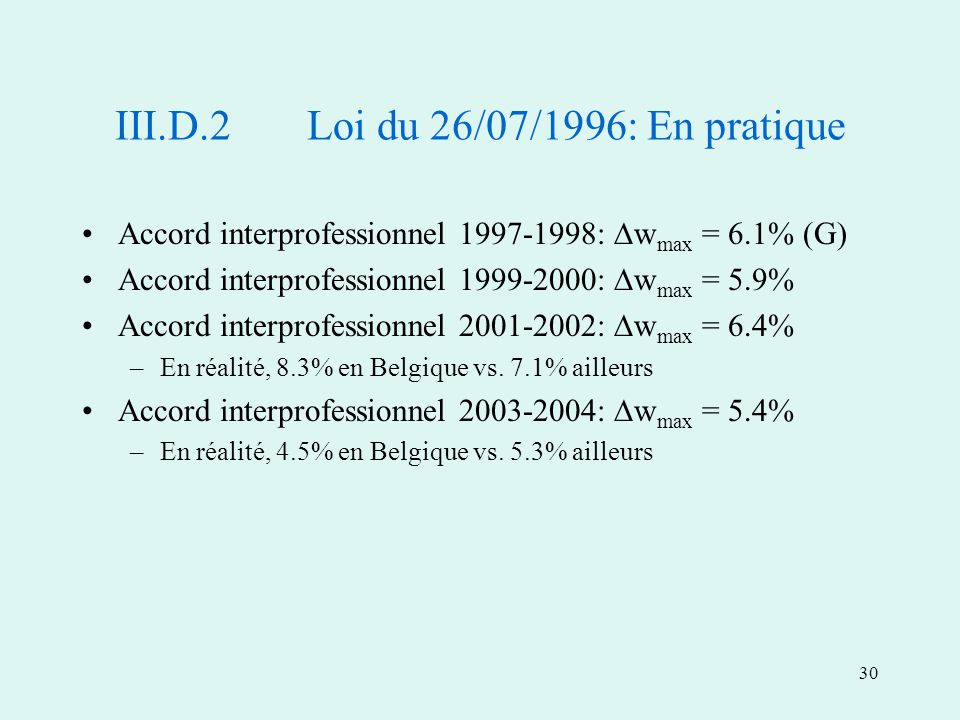 30 Accord interprofessionnel 1997-1998: w max = 6.1% (G) Accord interprofessionnel 1999-2000: w max = 5.9% Accord interprofessionnel 2001-2002: w max = 6.4% –En réalité, 8.3% en Belgique vs.