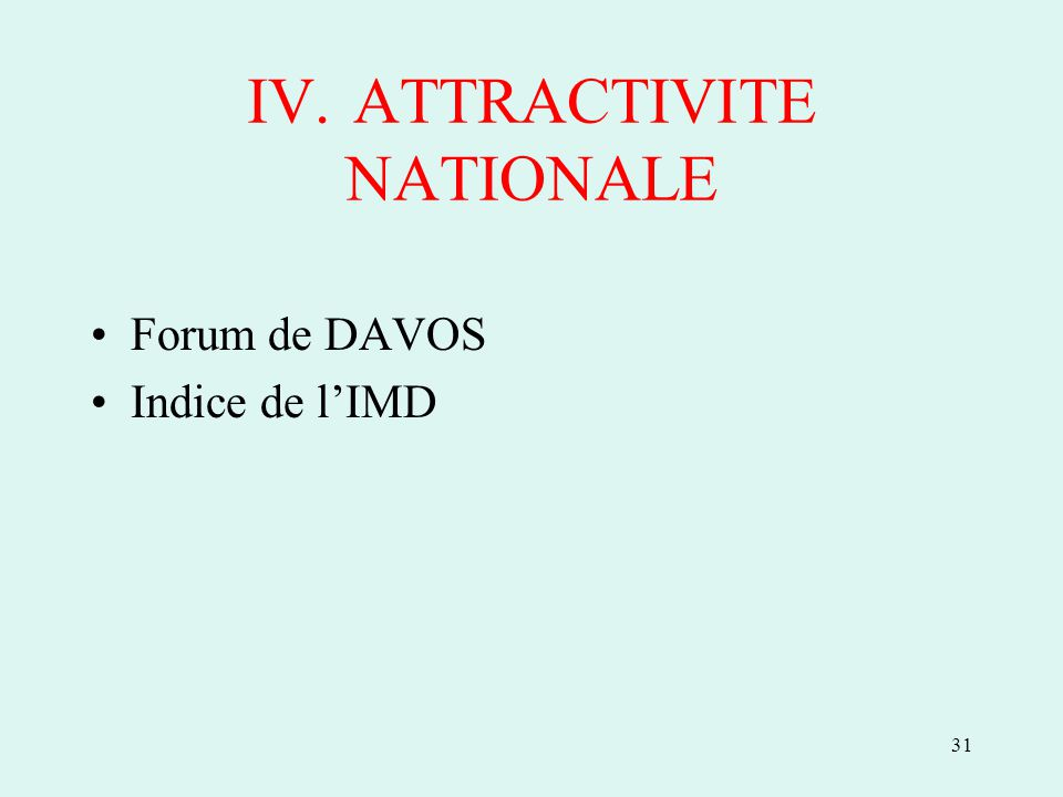 31 IV.ATTRACTIVITE NATIONALE Forum de DAVOS Indice de lIMD