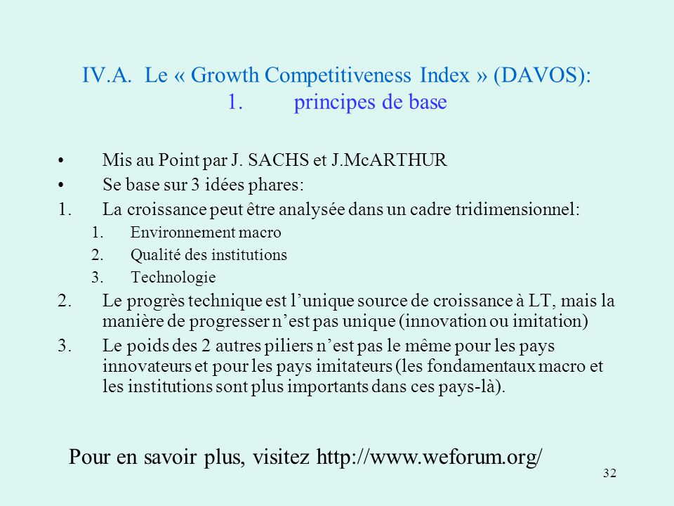 32 IV.A. Le « Growth Competitiveness Index » (DAVOS): 1.principes de base Mis au Point par J.